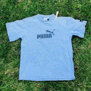 Vintage Puma Gray Black Logo Tshirt Made in USA